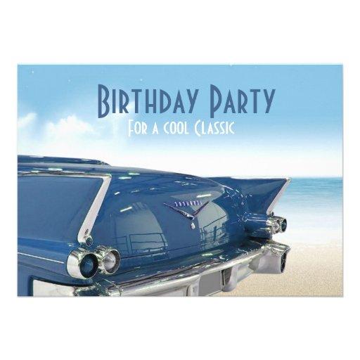 Cool Classic Car 60th Birthday Party Invitation Custom Invitation
