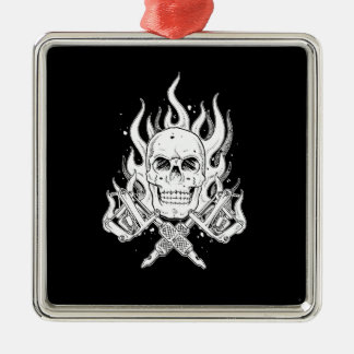 Cool Classic Elegant Black White Skull tattoo Christmas Ornament
