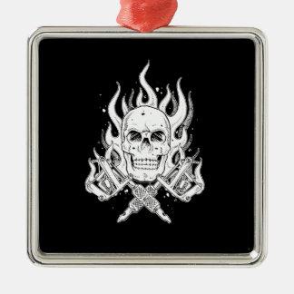 Cool Classic Elegant Black White Skull tattoo Silver-Colored Square Decoration