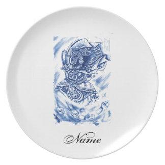 Cool Classic Japanese Demon tattoo Dinner Plate