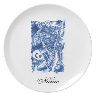 Cool Classic Japanese Demon tattoo Dinner Plates