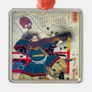 Cool classic oriental japanese samurai art japan Silver-Colored square decoration