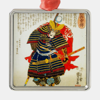 Cool classic oriental japanese samurai art japan Silver-Colored square decoration