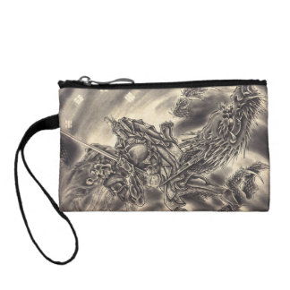 Cool classic vintage japanese demon dragon tattoo coin purse