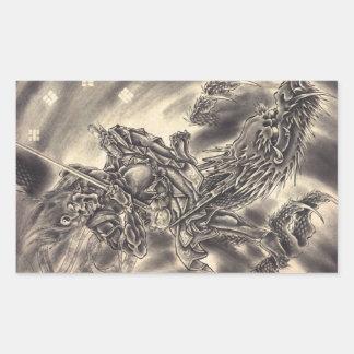 Cool classic vintage japanese demon dragon tattoo rectangular sticker