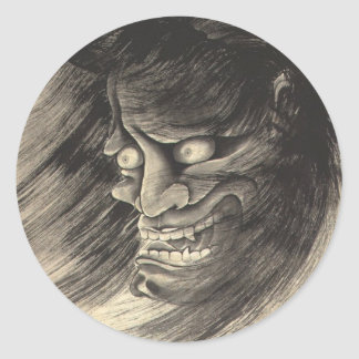 Cool classic vintage japanese demon head tattoo round sticker