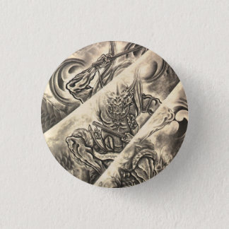 Cool classic vintage japanese demon ink tattoo 3 cm round badge