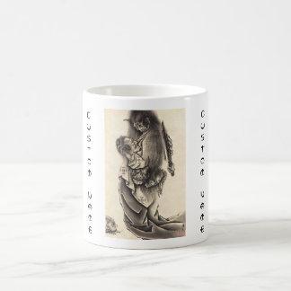 Cool classic vintage japanese demon ink tattoo basic white mug