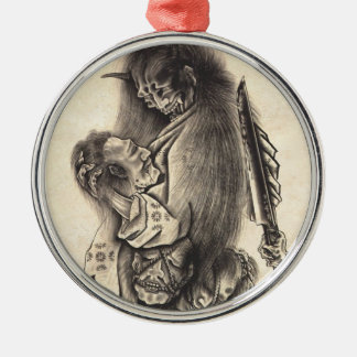 Cool classic vintage japanese demon ink tattoo christmas ornament