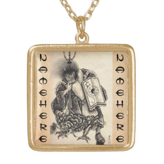 Cool classic vintage japanese demon ink tattoo personalized necklace