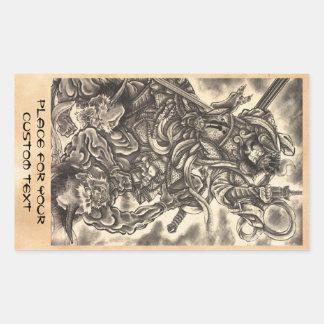 Cool classic vintage japanese demon ink tattoo rectangular sticker