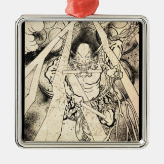 Cool classic vintage japanese demon ink tattoo Silver-Colored square decoration
