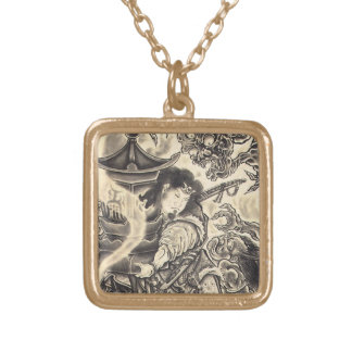 Cool classic vintage japanese demon ink tattoo square pendant necklace
