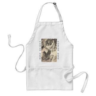 Cool classic vintage japanese demon monk tattoo adult apron