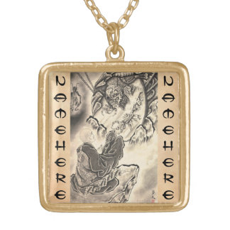 Cool classic vintage japanese demon monk tattoo square pendant necklace