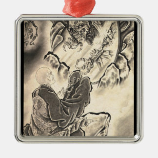 Cool classic vintage japanese demon monk tattoo Silver-Colored square decoration