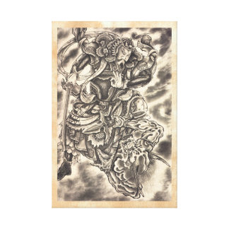 Cool classic vintage japanese demon samurai fight canvas print