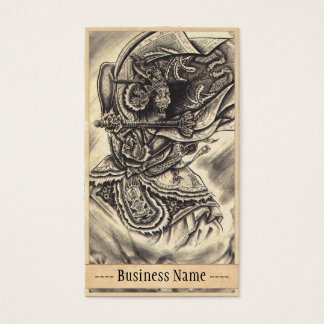 Cool classic vintage japanese demon tattoo art business card