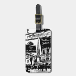 Cool Collage of Photo Illustrations of Paris Luggage Tag