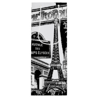 Cool Collage of Photo Illustrations of Paris Wine Gift Bag