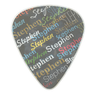 cool color person-name pearl celluloid guitar pick