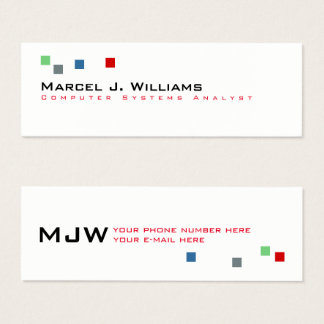 cool color pixels modern professional white mini business card