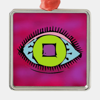 Cool Colorful Abstract Eye Design Fuchsia Christmas Ornament
