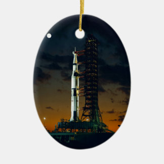 Cool Colorful Apollo Moon Mission at Launchpad Ceramic Oval Decoration