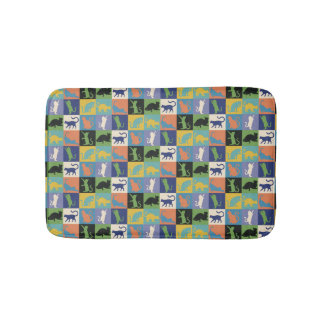 Cool Colorful Cat Silhouettes in Quilt Squares Bath Mat