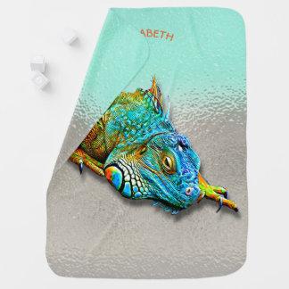 Cool Colorful Cute Rainbow Lizard Reptile Baby Blanket