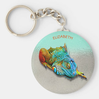 Cool Colorful Cute Rainbow Lizard Reptile Basic Round Button Key Ring