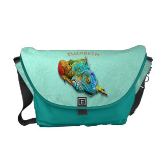 Cool Colorful Cute Rainbow Lizard Reptile Courier Bags