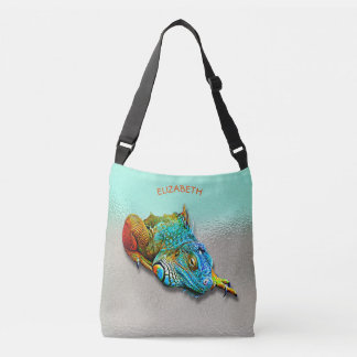 Cool Colorful Cute Rainbow Lizard Reptile Crossbody Bag