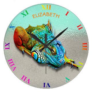 Cool Colorful Cute Rainbow Lizard Reptile Large Clock