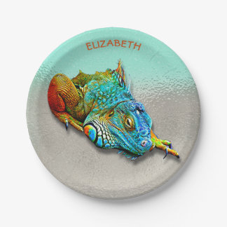 Cool Colorful Cute Rainbow Lizard Reptile Paper Plate