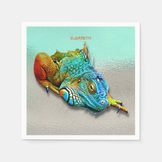 Cool Colorful Cute Rainbow Lizard Reptile Paper Serviettes