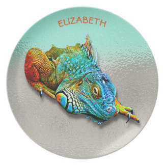 Cool Colorful Cute Rainbow Lizard Reptile Plate