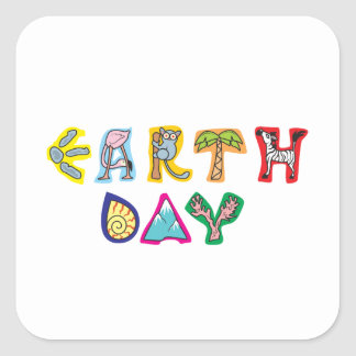 Cool Colorful Earth Day Square Stickers