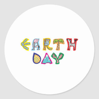 Cool Colorful Earth Day Round Stickers