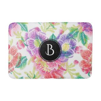 Cool Colorful Flowers Pattern Monogram Bath Mats