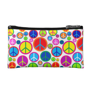 Cool Colorful Groovy Peace Symbols Makeup Bag