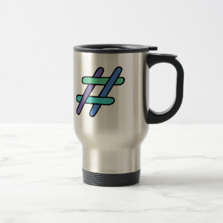 Cool Colorful # Hashtag Blue Green Social Media Stainless Steel Travel Mug