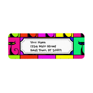 Cool Colorful Kitty Cat Pop Art Squares