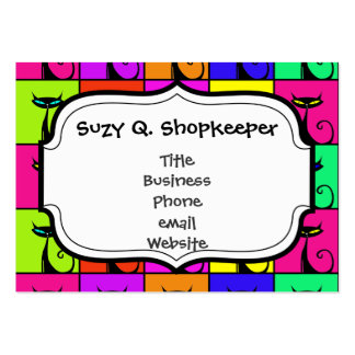 Cool Colorful Kitty Cat Pop Art Squares Business Card Templates