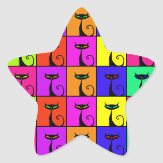 Cool Colorful Kitty Cat Pop Art Star Sticker