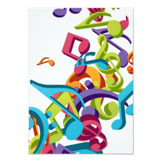 Cool Colorful  music notes & sounds 13 Cm X 18 Cm Invitation Card