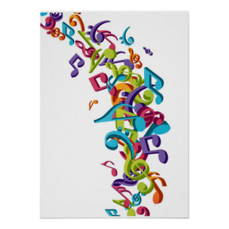 Cool Colorful music notes sounds Posters