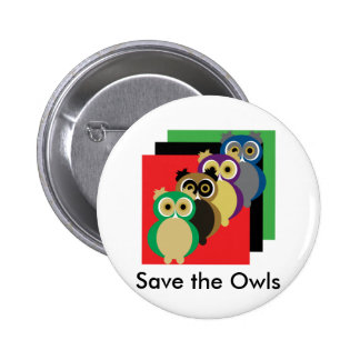 Cool Colorful Owls 6 Cm Round Badge