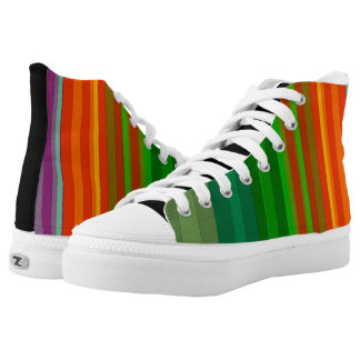 Cool Colorful Stripes Bold Vertical Bright Rainbow Printed Shoes