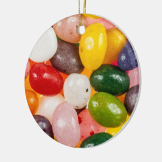 Cool colorful sweet Easter Jelly Beans Candy Round Ceramic Decoration